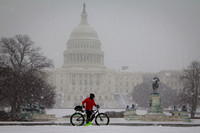 U.S. Capitol Snowfall with Bicycle