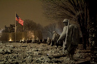 Korean War Memorial Snowfall at Night